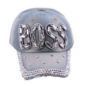 Accessories - Distressed Boss Denium Hat *BLING*